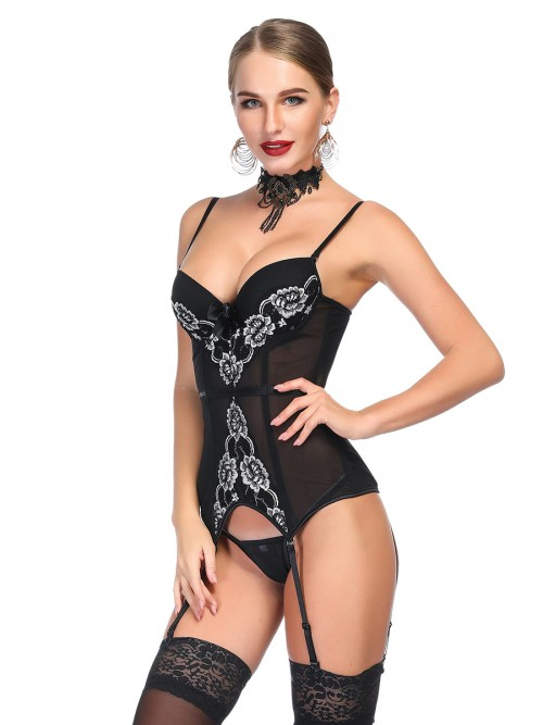Faddish Black Mesh Corset G-String Peony Pattern Affordable
