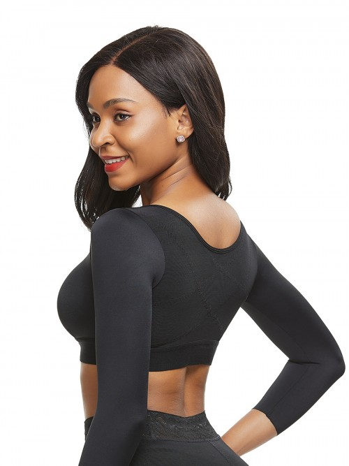 Fashionable Black Queen Size 34 Sleeve Shapewear Bra Comfortable
