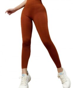 Fasinating Khaki Athletic Leggings Solid Color High Rise Training Apparel