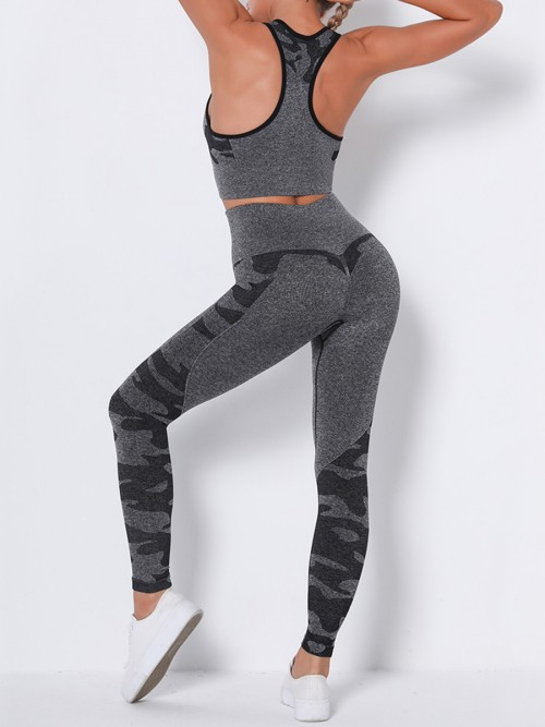 Feisty Black Running Suit Seamless Wide Waistband Versatile Item