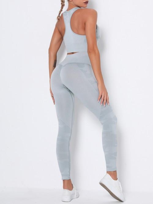 Feisty Grey Running Suit Seamless Wide Waistband Versatile Item