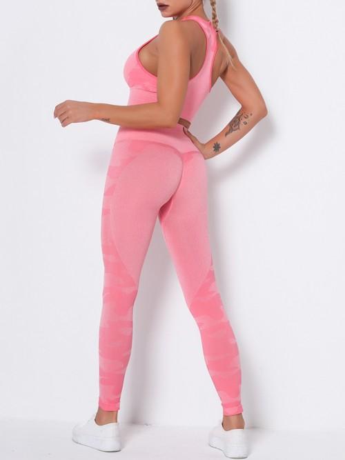 Feisty Pink Running Suit Seamless Wide Waistband Versatile Item