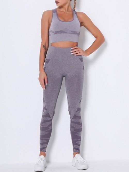 Feisty Purple Running Suit Seamless Wide Waistband Versatile Item