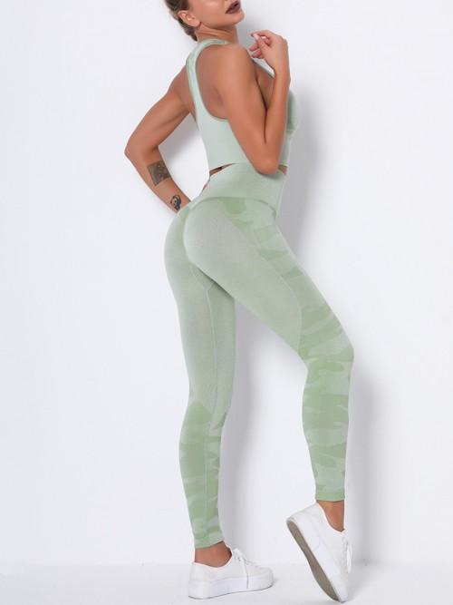 Feisty Green Running Suit Seamless Wide Waistband Versatile Item
