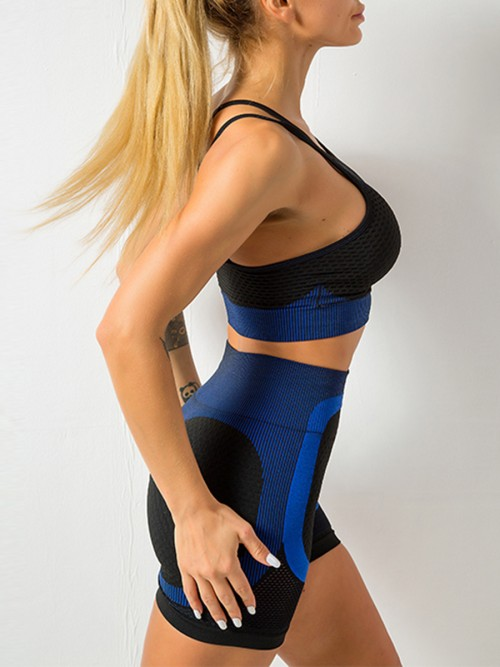 Feisty Blue Mesh Contrast Color Strap Sports Suit Kinetic Weekend