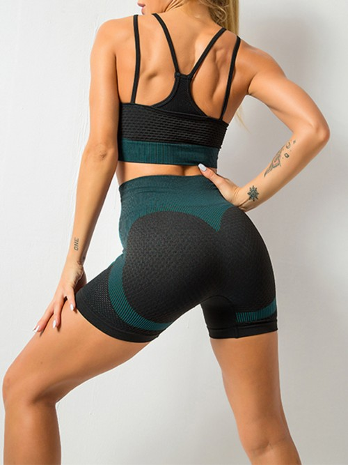 Feisty Lake Green Mesh Contrast Color Strap Sports Suit Kinetic Weekend
