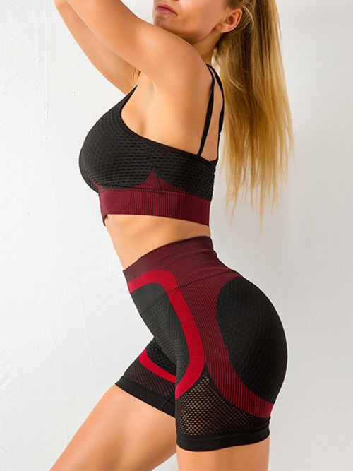 Feisty Red Mesh Contrast Color Strap Sports Suit Kinetic Weekend