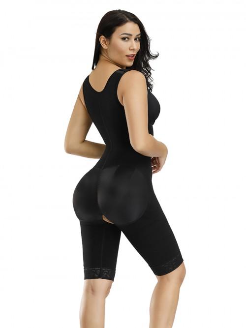 Firm Control Black Front Zipper Queen Size Breastfeeding Bodysuit Slimmer