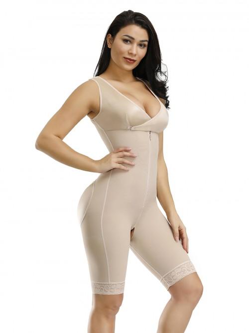 Firm Control Skin Front Zipper Queen Size Breastfeeding Bodysuit Slimmer