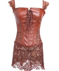 Firm Control Brown Drawstring 8 Glue Bones Lace Bustier Hourglass