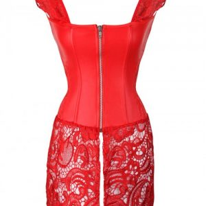 Firm Control Red Drawstring 8 Glue Bones Lace Bustier Hourglass