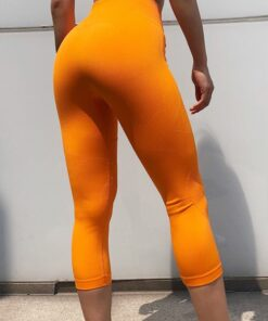 Fitted Orange Seamless Sports Legging Wide Waistband Fashion Essential