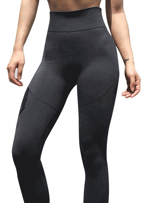 Fitted Black Seamless Sports Legging Wide Waistband Fashion Essential