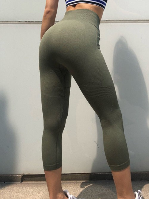 Fitted Green Seamless Sports Legging Wide Waistband Fashion Essential