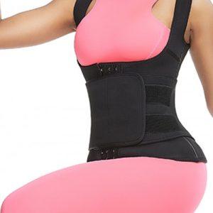 Flatten Tummy Black 3-Row Hooks Neoprene Waist Trainer Vest