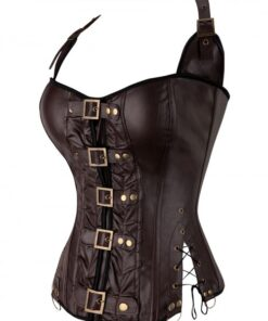 Flawlessly Brown 10 Glue Bones Lace-Up Overbust Corset For Party