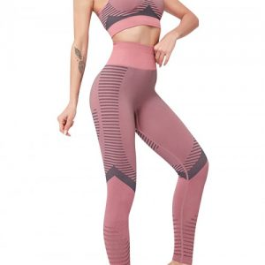 Flirting Pink Sports Suit High Waist Full Length Aerobic Activities