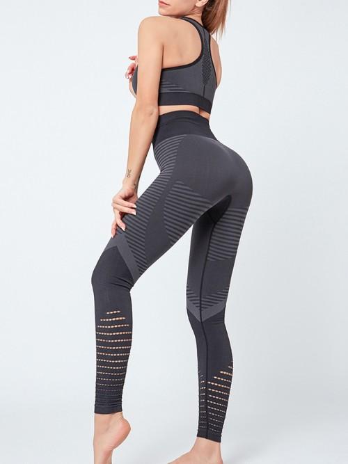Flirting Black Sports Suit High Waist Full Length Aerobic Activities