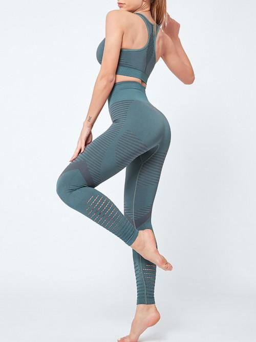 Flirting Green Sports Suit High Waist Full Length Aerobic Activities