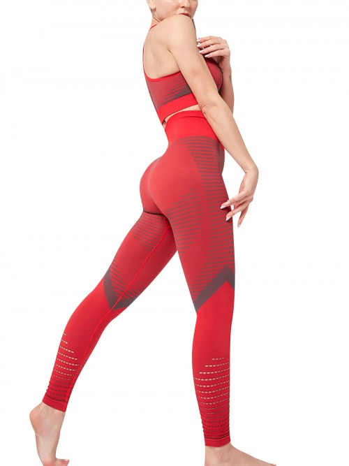 Flirting Red Sports Suit High Waist Full Length Aerobic Activities