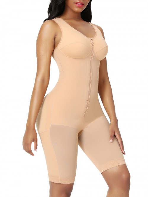 Full Body Shaper Dark Skin Zipper Inner Hooks Medium Control