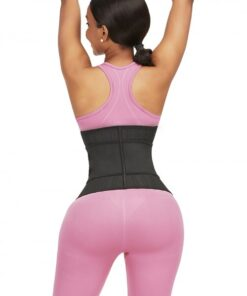 Functional Black 25 Steel Bones Sticker Zip Latex Waist Trainer