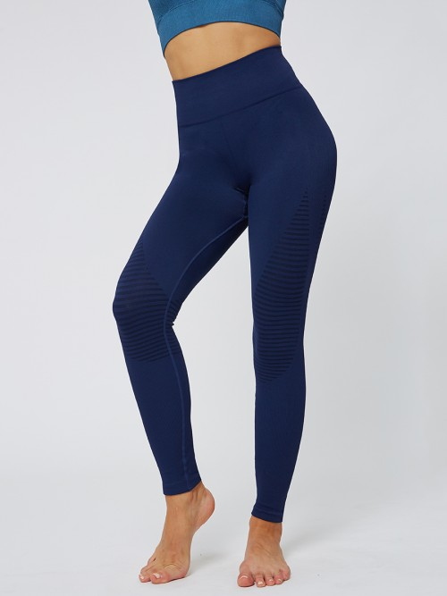 Glorious Blue Solid Color Seamless Yoga Leggings High Quality