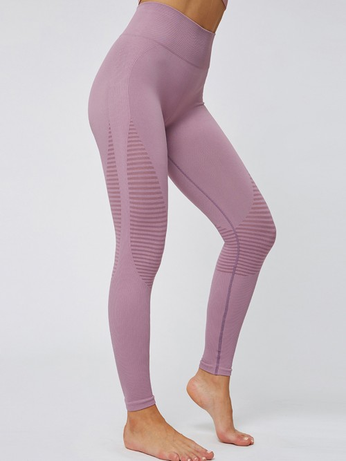 Glorious Pink Solid Color Seamless Yoga Leggings High Quality