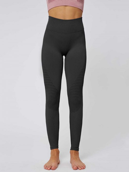Glorious Black Solid Color Seamless Yoga Leggings High Quality