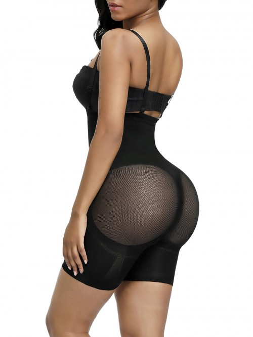 Good Black Seamless Full Body Shaper Sheer Mesh Slimming Tummy