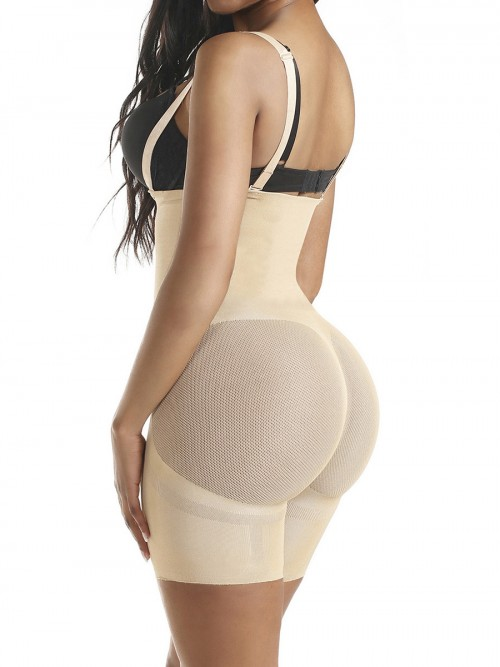 Good Skin Color Seamless Full Body Shaper Sheer Mesh Slimming Tummy