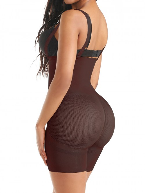 Good Dark Coffee Seamless Full Body Shaper Sheer Mesh Slimming Tummy