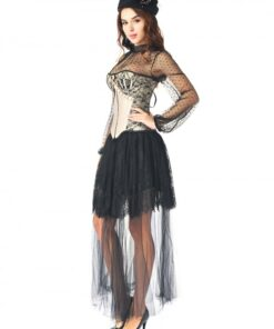 Gracious Black 3 Pieces Ruffle Corset Skirt Set Lace Trim Ultra Hot