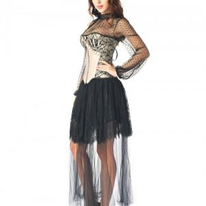 Gracious Black 3 Pieces Ruffle Corset Skirt Set Lace Trim Ultra Hot