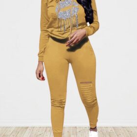 Hawaii Khaki Ripped Fringed Sports Set Hooded Neck Cheap Online Sale