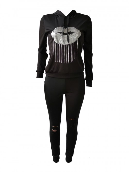 Hawaii Black Ripped Fringed Sports Set Hooded Neck Cheap Online Sale