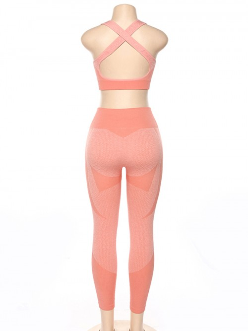 Hawaii Pink High Waist Sweatsuit Splicing Cutout Outdoor Activity