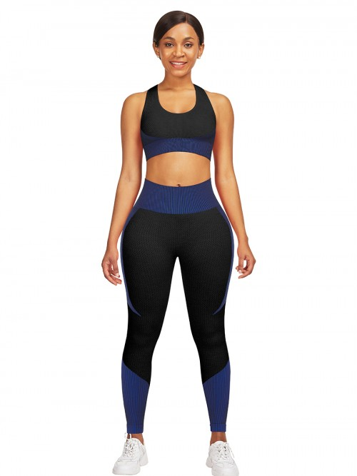Hawaii Blue High Waist Sweatsuit Splicing Cutout Outdoor Activity