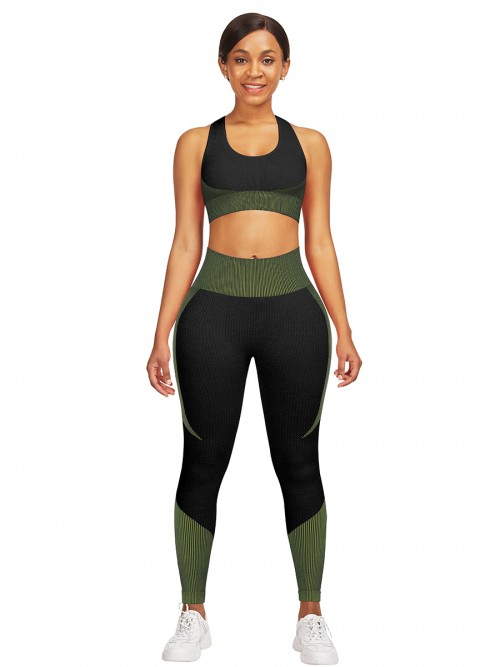 Hawaii Green High Waist Sweatsuit Splicing Cutout Outdoor Activity