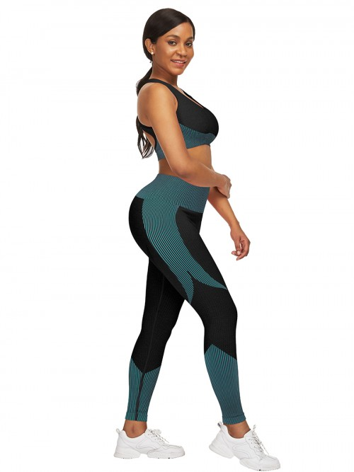 Hawaii Lake Blue High Waist Sweatsuit Splicing Cutout Outdoor Activity