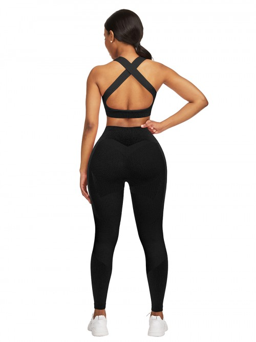 Hawaii Black High Waist Sweatsuit Splicing Cutout Outdoor Activity