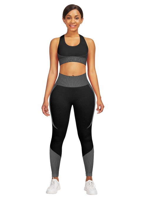 Hawaii Grey High Waist Sweatsuit Splicing Cutout Outdoor Activity