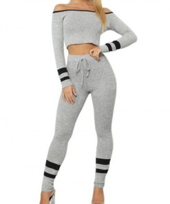 Heartthrob Gray Off-Shoulder Long Sleeves Sports Suit Stretched