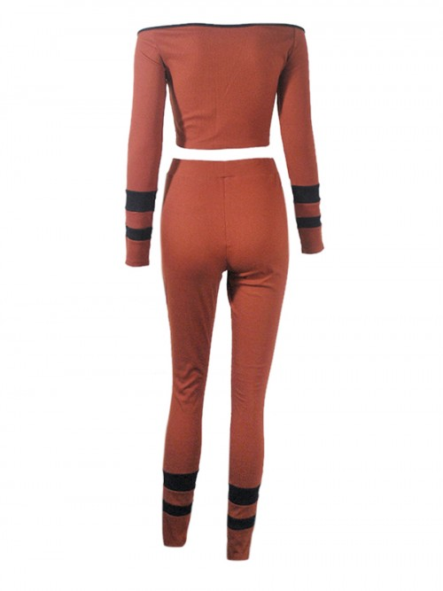 Heartthrob Brown Off-Shoulder Long Sleeves Sports Suit Stretched