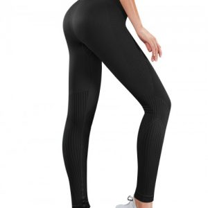 High Elasticity Black High Waist Yoga Legging Ankle Length