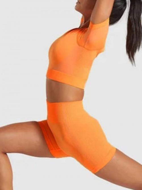 High Elasticity Orange Hollow Seamless Sports Set High Waist