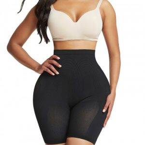Ideal Black Thigh Length Shorts Shaper High Rise Visual Effect