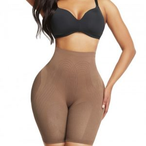 Ideal Light Coffee Thigh Length Shorts Shaper High Rise Visual Effect