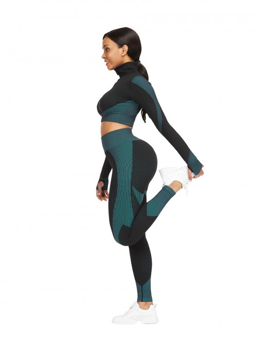 Incredibly Lake Blue Thumbhole Zipper Contrast Color Yoga Suit For Training