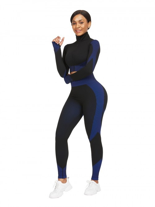 Incredibly Blue Thumbhole Zipper Contrast Color Yoga Suit For Training